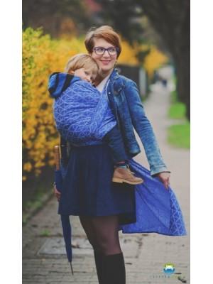 Little FROG Žakárová tkaná šatka na nosenie detí -  Blue Hourglasses - L (40)