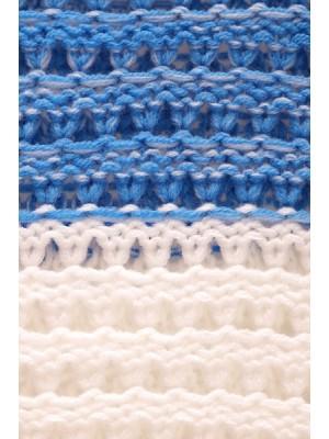 Be MaaMaa Ažurkový svetrík DUET melírkovaný - modrá jeans