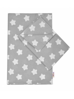 Baby Nellys Bavlnené obliečky 140 x 200 - Sweet Stars - sivá - 140x200/70x80cm