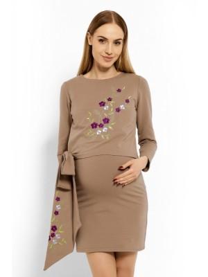 Be MaaMaa Elegantné tehotenské šaty, tunika s výšivkou a stuhou - cappuccino (dojčiace) - S/M