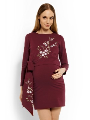 Be MaaMaa Elegantné tehotenské šaty, tunika s výšivkou a stuhou - bordo (dojčiace) - S/M