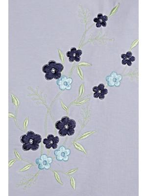 Be MaaMaa Elegantné tehotenské šaty, tunika s výšivkou a stuhou - jasno modré (dojčiace) - S/M