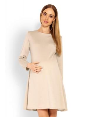 Be MaaMaa Elegantné voľné tehotenské šaty dl. rukáv - béžové, L/XL - L/XL