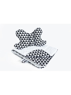 2-dielna Súprava do kočíka s Minky s motýlikom - trojuholníčky, Minky - čierna/biela