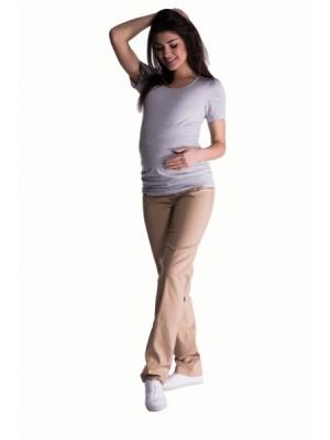 Be MaaMaa Bavlnené, tehotenské nohavice s regulovateľným pásom - béžové, vel. L - L (40)