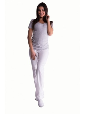 Be MaaMaa Bavlnené, tehotenské nohavice s regulovateľným pásom - biele, vel´. XXL - XXL (44)