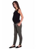 Be MaaMaa Moderné tehotenské tepláky s odnímateľným pásom - khaki, vel´. M - M (38)