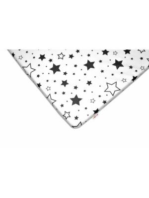 Baby Nellys Bavlnené prestieradlo 60x120 - Čierne hviezdy a hviezdičky - biele - 120x60