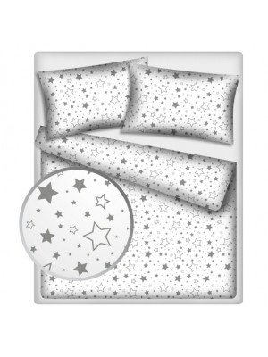 Baby Nellys Bavlnené obliečky 140 x 200 - Sivé hviezdy a hviezdičky - 140x200/70x80cm