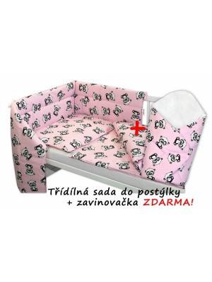 3-dielna sada mantinel s obliečkami 135x100 + zavinovačka zadarmo - Baby Panda, ružová - 135x100