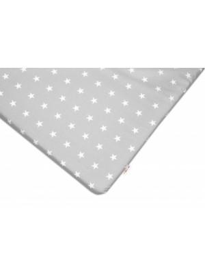 Baby Nellys Bavlnené prestieradlo - Hvezdičky biele v sivej - 120x60