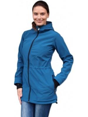 Bunda pre nosiace, tehotné - softshellová (predné nosenie) - petrolejová, veľ. L/XL - L/XL