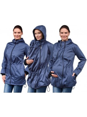 Bunda pre nosiace, tehotné - softshellová (predné nosenie) - tm. modrý melír, veľ. L/XL - L/XL