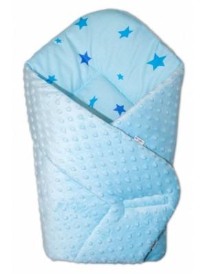 Baby Nellys  Obojstranná zavinovačka Minky - hviezdičky modré - sv. modrá,