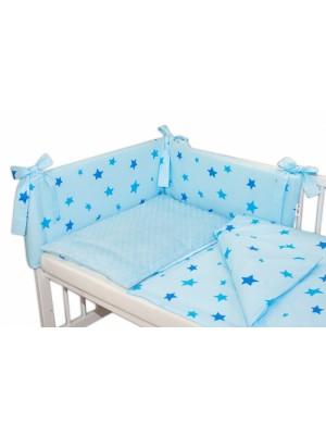 3- dielná sada mantinel s obliečkami Minky 135x100 hviezdičky modré - sv. modrá - 135x100