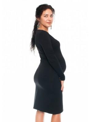 Be MaaMaa Bavlněné tehotenské a dojčiace šaty s potiskom Kvetin, čierne - XS (32-34)