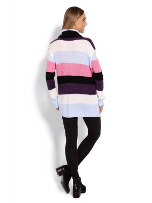Be MaaMaa Dlhšie, prúžkovaný tehotenský svetrík, rolák - farebné pruhy - UNI