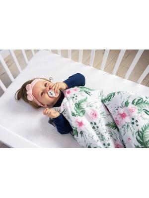 Baby Nellys Bavlnený spací vak Květinky - biely 48x80cm