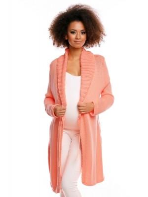Be MaaMaa Dlhší tehotenský svetrík / kardigan s výrazným lemovaním - marhuľový - UNI