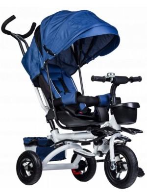 Eco toys Detská trojkolka Lux s vodiacou tyčou - modrá