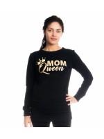 Be MaaMaa Tehotenské a dojčiace triko/mikina Mom Queen, dlhý rukáv, čierna, veľ. L - L (40)
